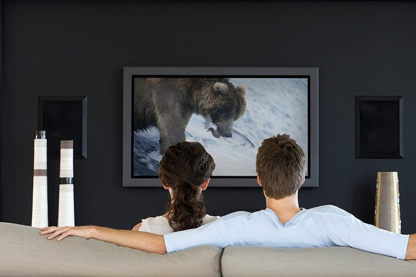 TV cinema room couple